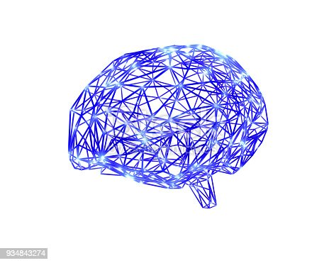 istock Polygonal brain shape with glowing lines and dots. 934843274