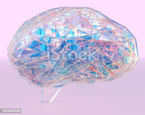 istock Polygonal brain shape with glowing lines and dots. 934846208