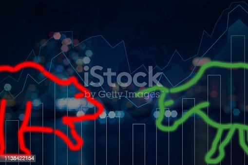 istock polygonal bull and bear shape writing by lines and dots over the Stock market trading graph over the cityscape background, trading and finance investment concept 1138422154
