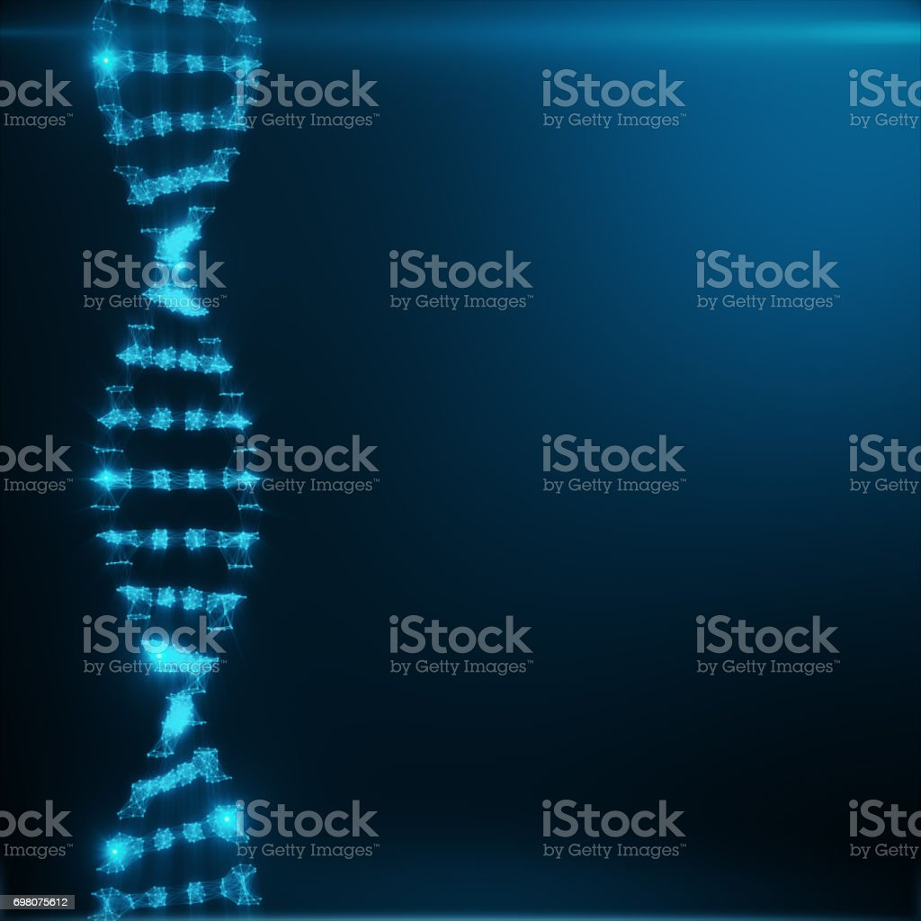 Polygonal DNA Concept consisting of Blue Dots and Lines. Digital Illustration DNA Structure. DNA molecule structure, 3D rendering stock photo