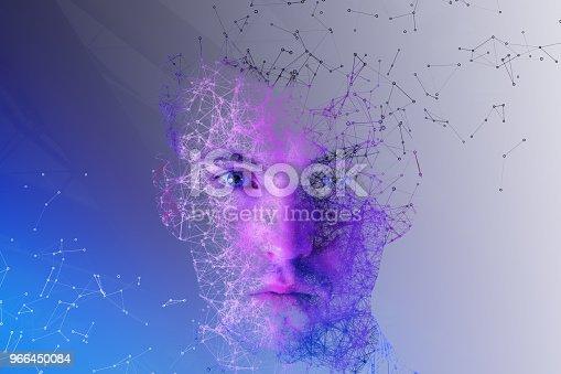 istock Polygonal man portrait 966450084