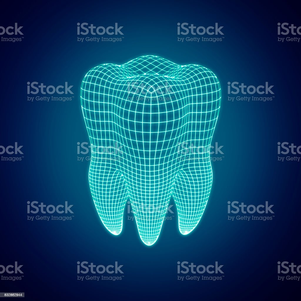 Polygonal mesh tooth on a dark background. 3d render stock photo