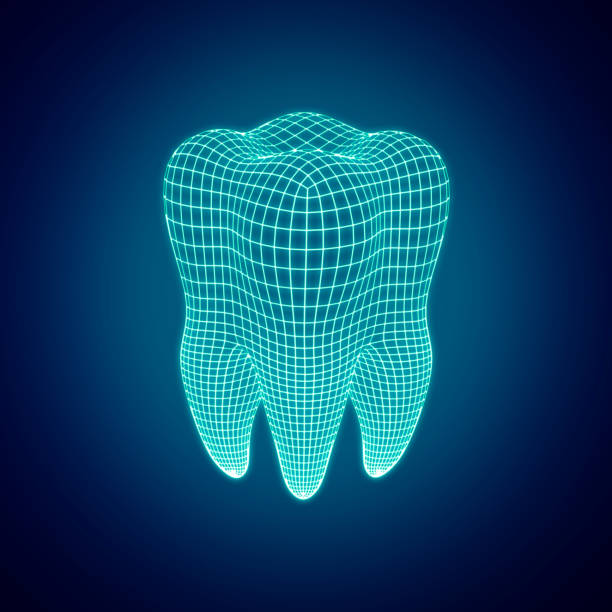 Polygonal mesh tooth on a dark background. 3d render - foto stock