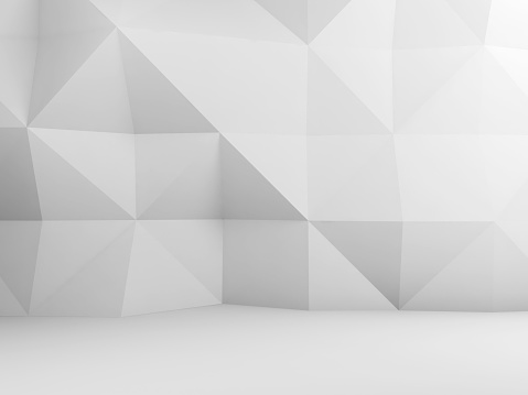 927104724 istock photo Polygonal pattern on the wall, 3d render 1058014070