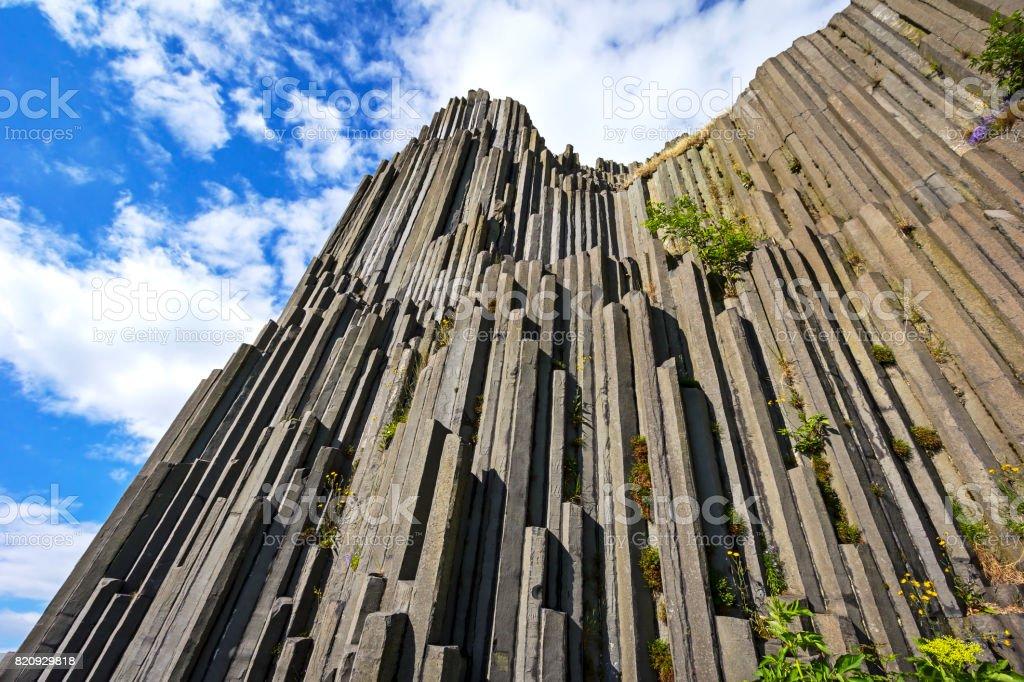 Polygonal structures of basalt columns stock photo