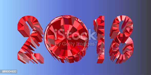 1166441358 istock photo Polygonal volumetric calendar numbers 2018 isolated on blue background.  Christmas, Happy New Year  futuristic 3D illustration. 889304632