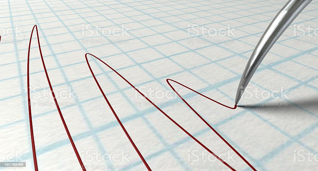 Polygraph Needle And Drawing stock photo