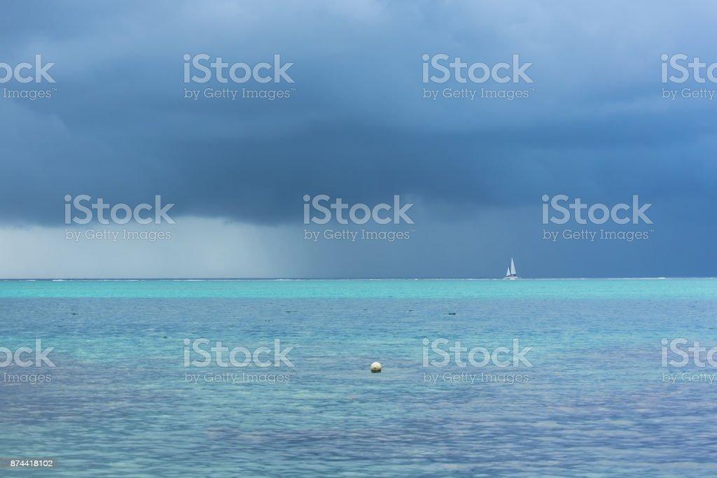Polynesia, Moorea, panorama of the lagoon stock photo