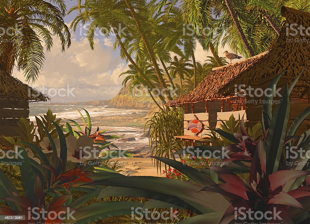 Polynesian Beach Hut stock photo