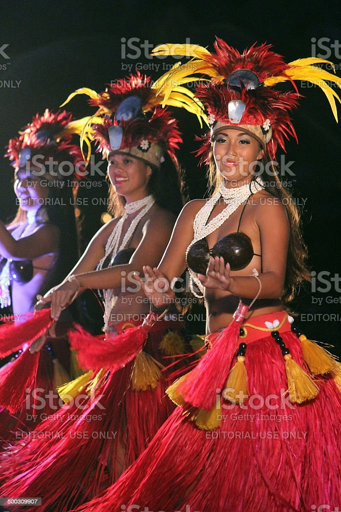 Polynesian Hula Dancers at a Luau - Maui, Hawaii stock photo