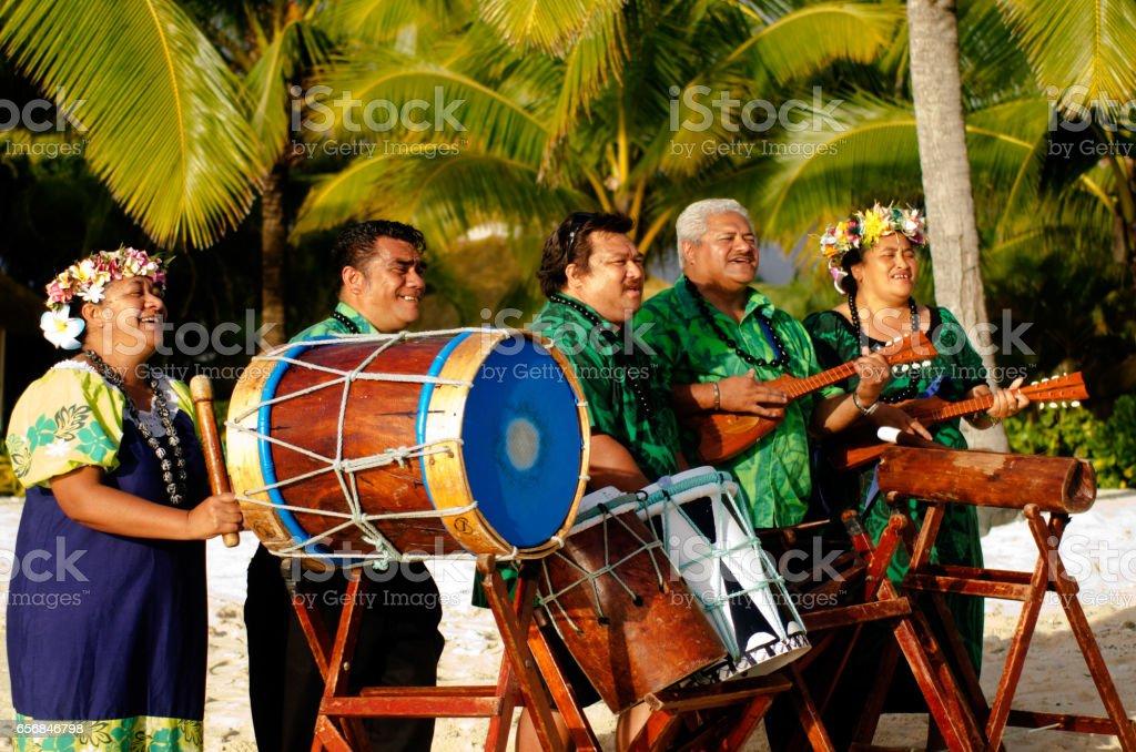 Polynesian Pacific Island Tahitian Music Group stock photo