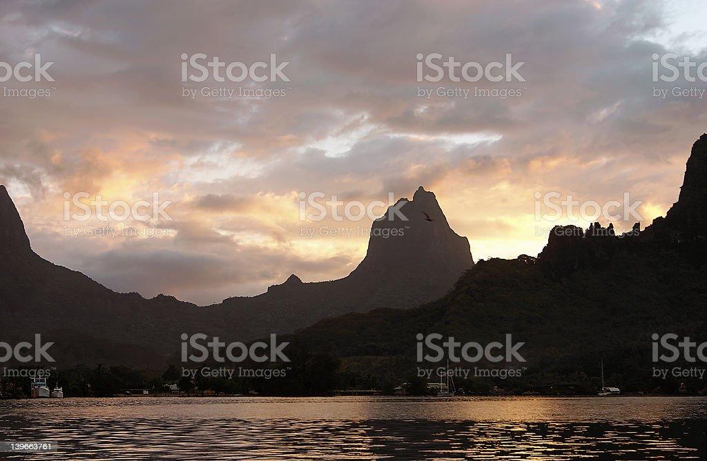 Polynesian sunset royalty-free stock photo