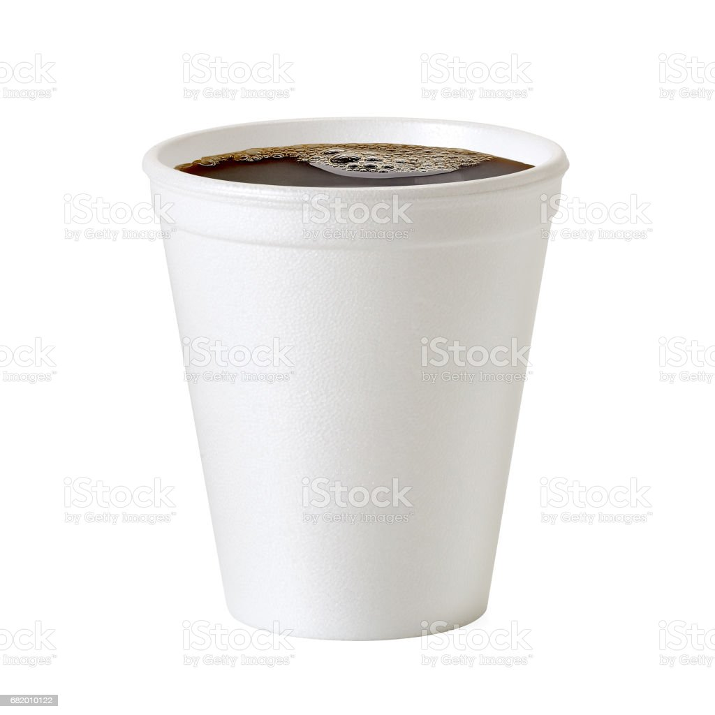 Polystyrene coffee cup on white background - foto de stock