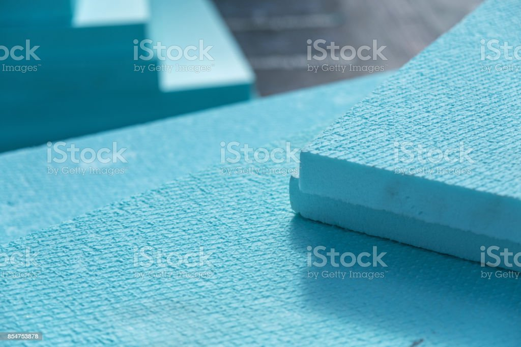 XPS polystyrene insulation boards closeup stock photo