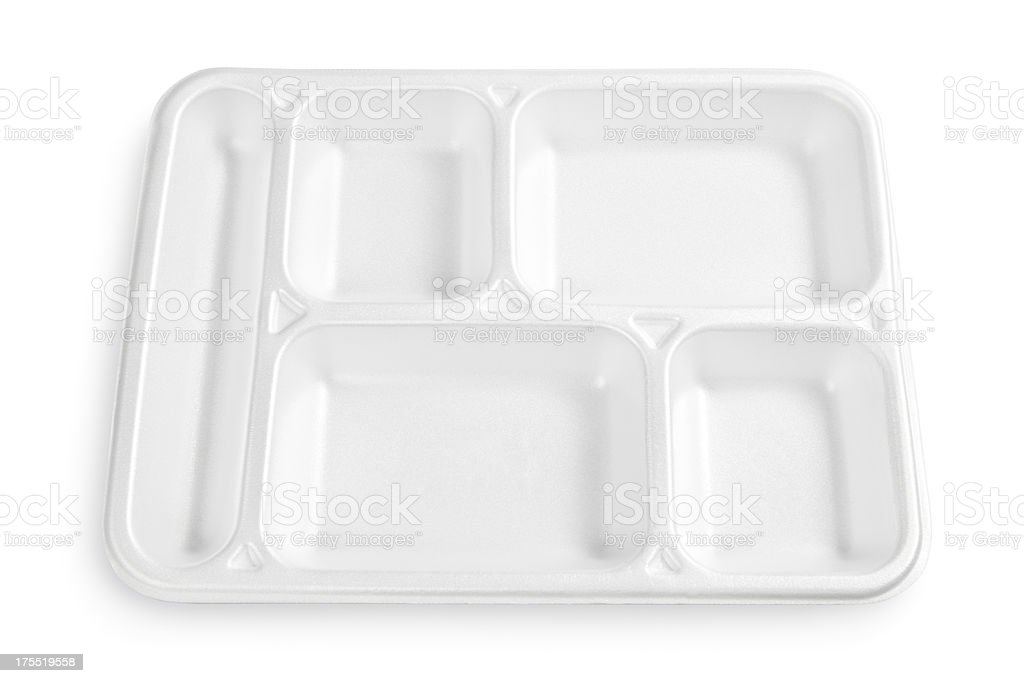 Polystyrene lunch tray stock photo