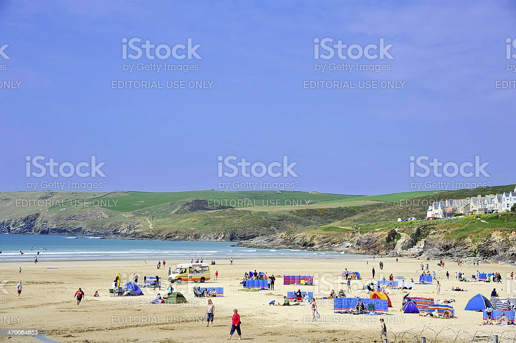 Polzeath, Cornwall, UK stock photo