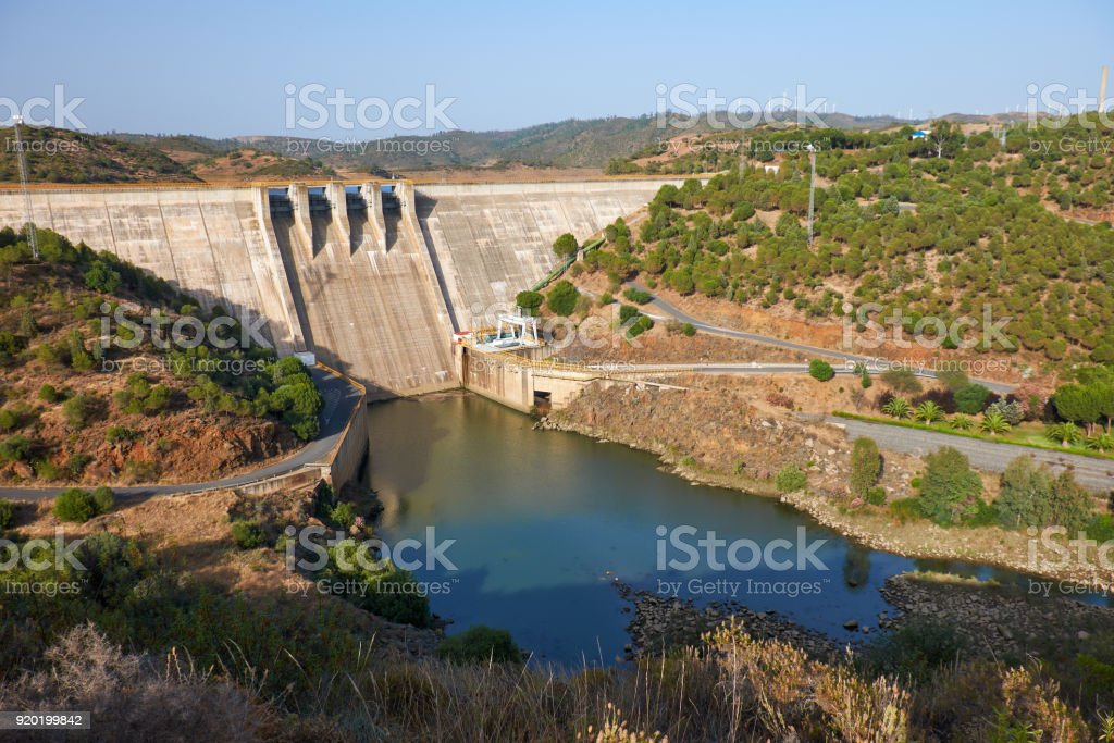 Pomarao Dam and hydroelectric power station on Chanza Reservoir near river Guadiana  between Portugal and Spain stock photo