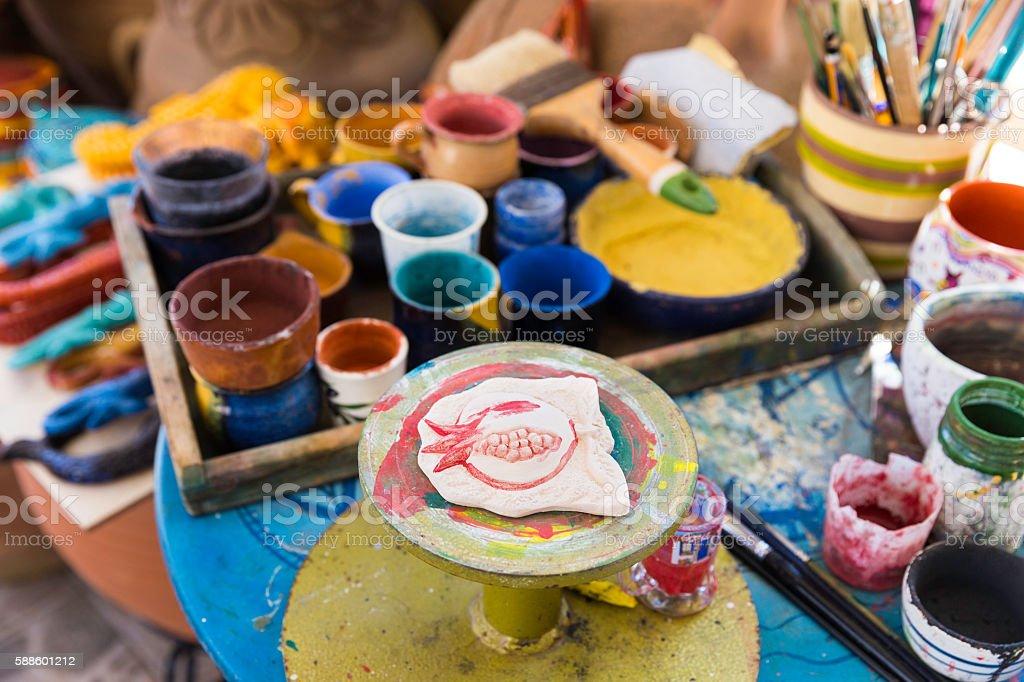 Pomegranate ceramic giftware stock photo