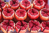 pomegranate cut out on a road side store