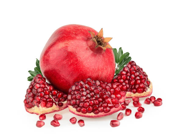 pomegranate fruit isolated white background - romã imagens e fotografias de stock
