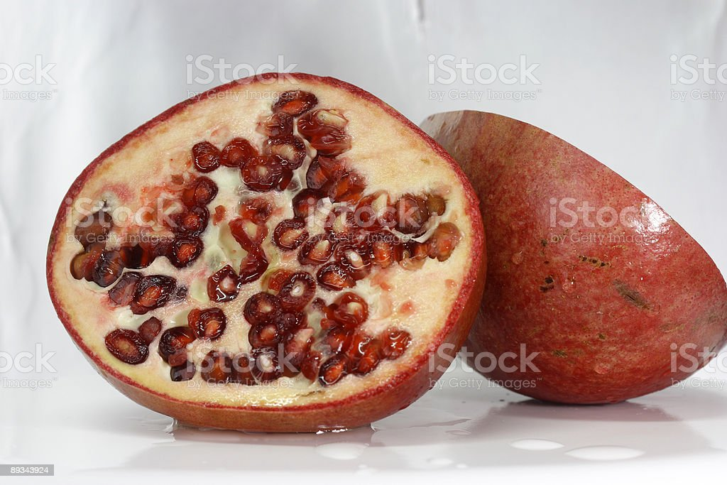 Pomegranate half view stock photo