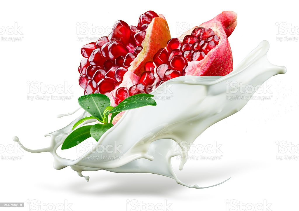 Pomegranate is falling into milk. Splash isolated on white background stock photo