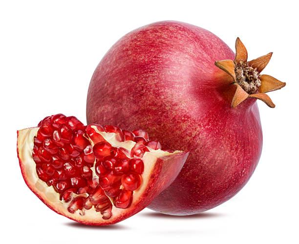 pomegranate isolated on white background with clipping path - romã imagens e fotografias de stock