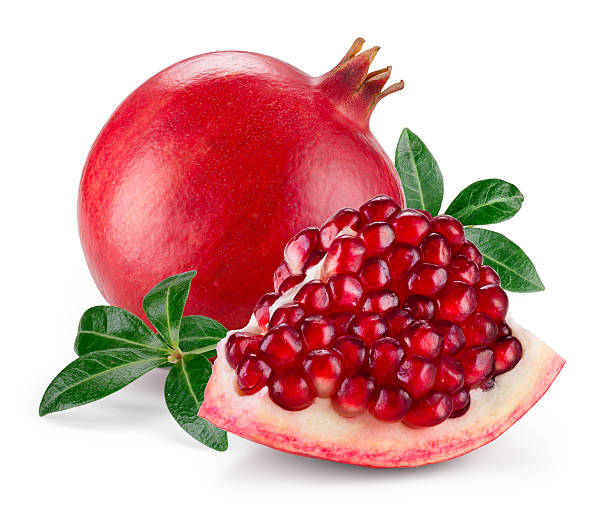 pomegranate isolated on white. - pomegranate stock photos and pictures