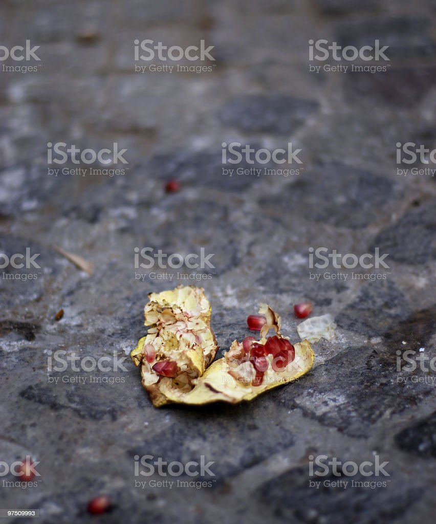 Pomegranate on the street royalty-free stock photo
