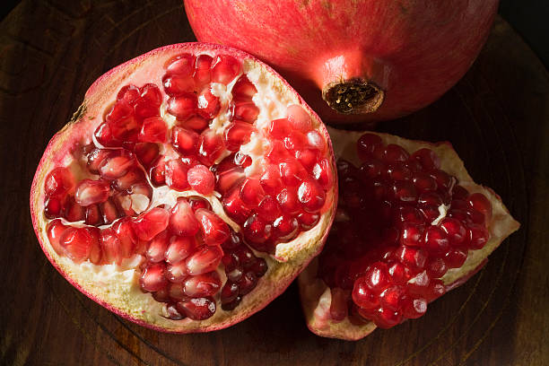 Pomegranate Open with Seeds stock photo