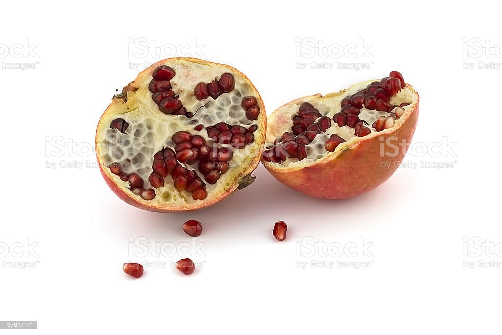 pomegranate parts and seeds royaltyfri bildbanksbilder