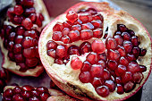 Sliced open pomegranate