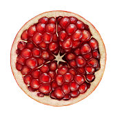 Pomegranate circle portion on white background. Clipping path included.Related pictures: