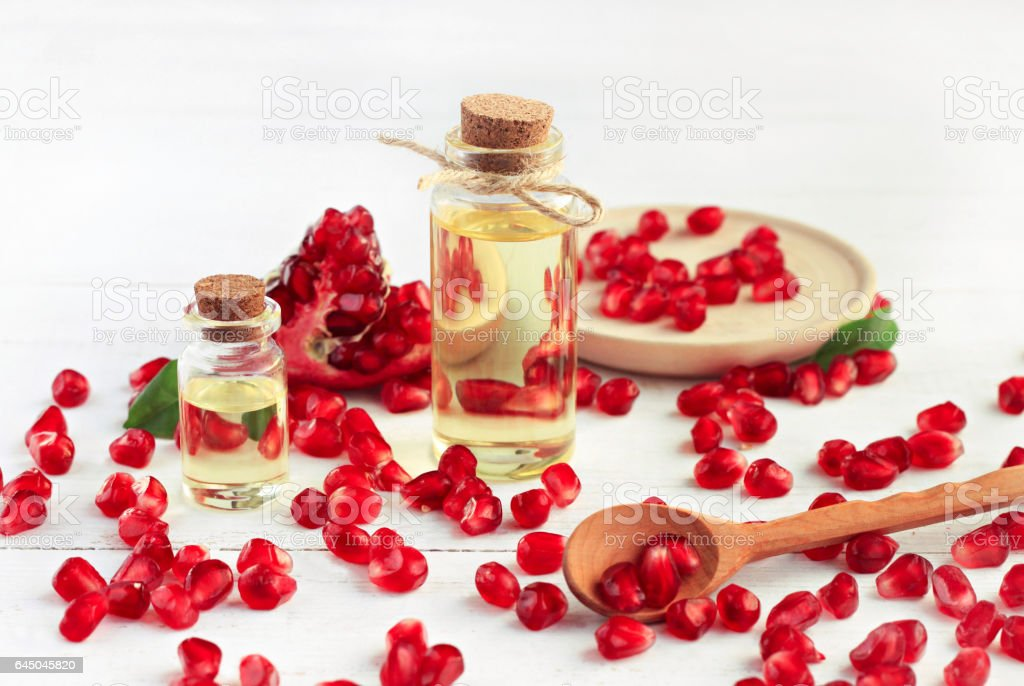 Pomegranate seed oil. stock photo