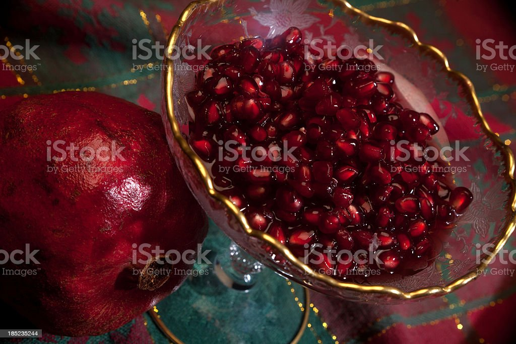 Pomegranate Seeds in Port Wine stock photo