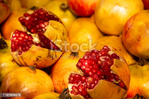 Pomegranate seeds. Extreme closeup background.