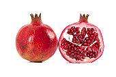 succulent pomegranate on white