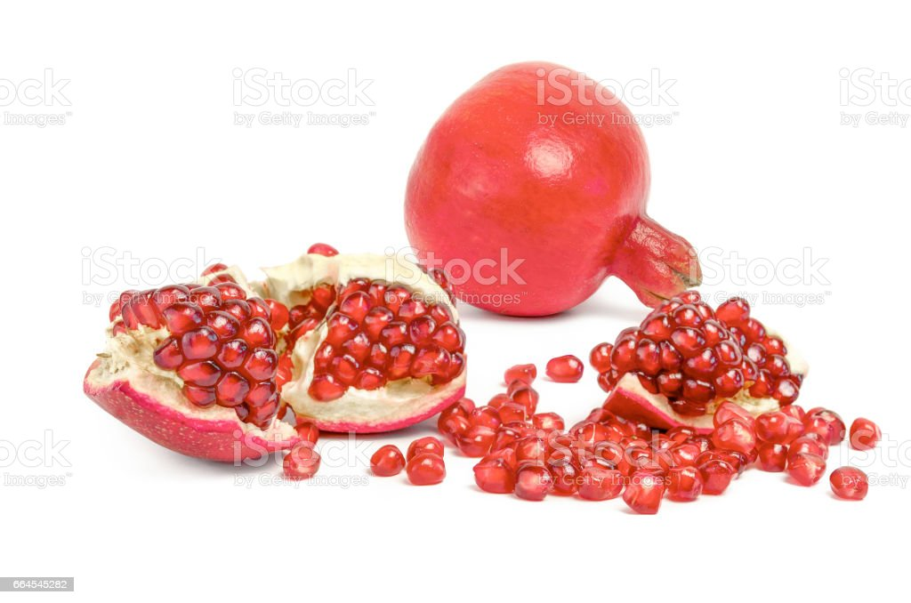 Pomegranate slices isolated on a white backgrount royalty-free stock photo