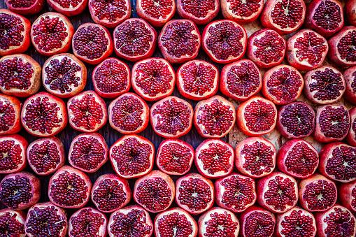 Pomegranates at Carmel Market in Tel Aviv, Israel