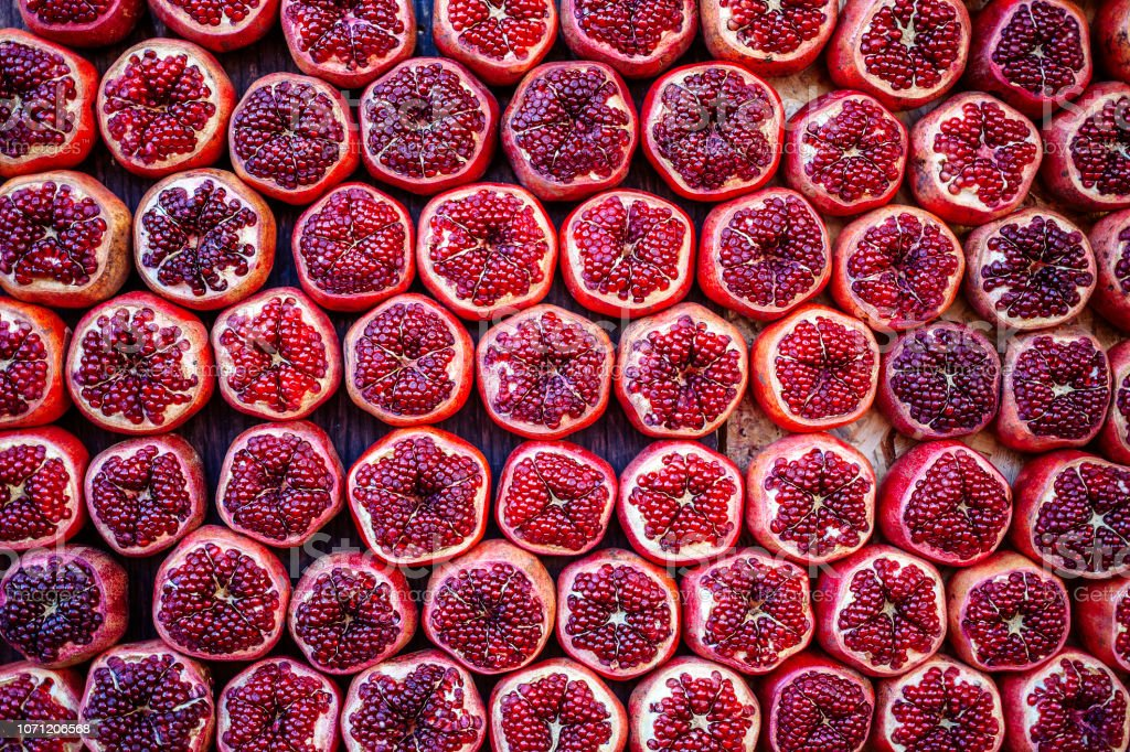 Pomegranates at Carmel Market in Tel Aviv, Israel stock photo