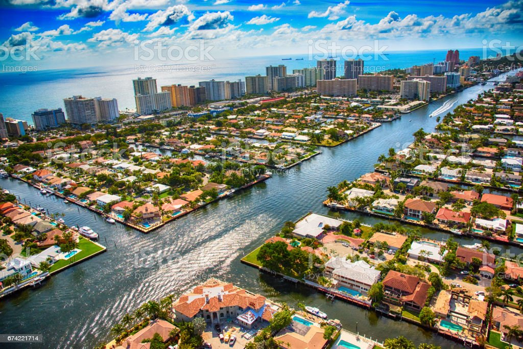 Pompano Beach and Fort Lauderdale Area From Above stock photo