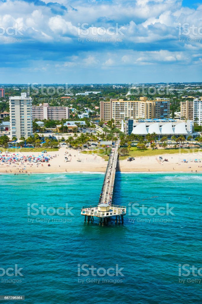 Pompano Beach Pier Aerial Stock Photo & More Pictures Of