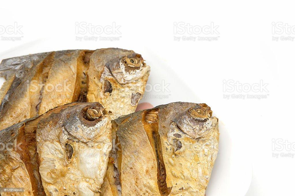 Pompano Fried isolate on white background. stock photo