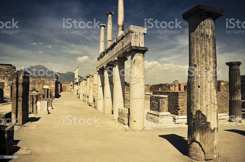 Pompei and Vesuvio stock photo