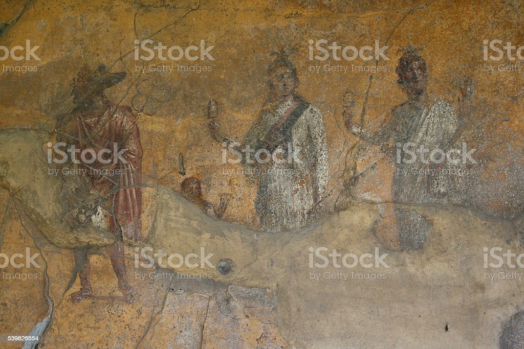 Pompeian fresco. Pompeii (Naples - Italy) stock photo