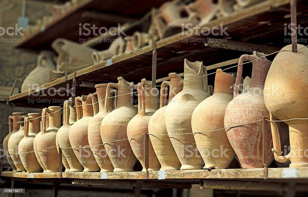 Pompeii amphoras stock photo