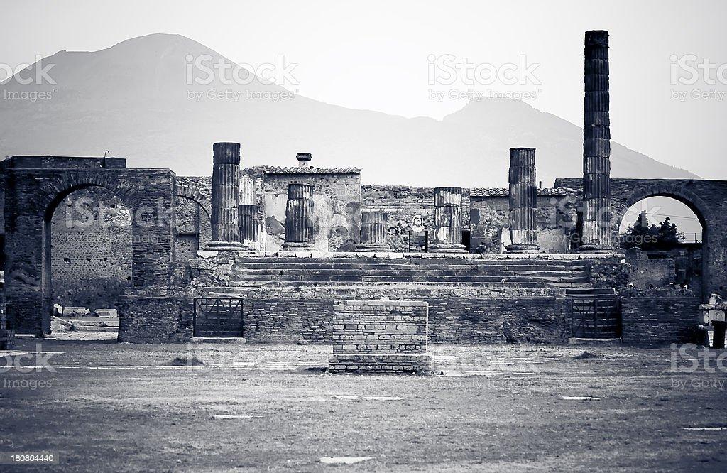 Pompeii and Vesuvius royalty-free stock photo