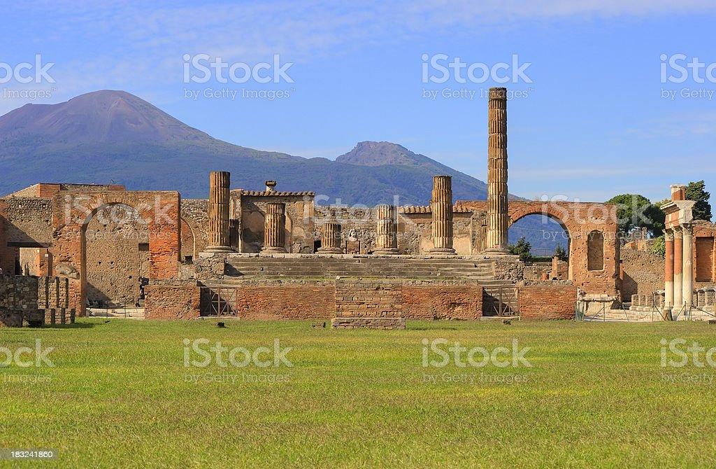 Pompeii Forum, Jupiter Temple detail stock photo