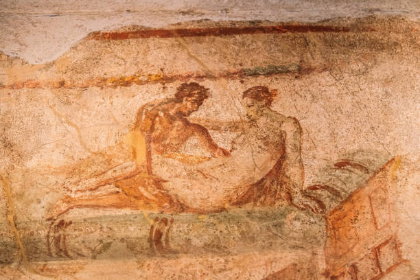 Pompeii, Italy. Fresco Sex Scene On Wall Of Lupanar Of Pompeii stock photo