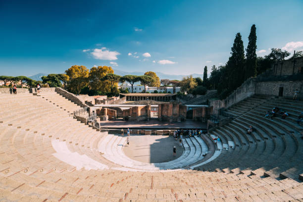 Pompeii, Italy. View Of Great Theatre Of Pompey In Sunny Day stock photo